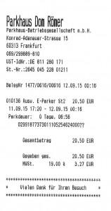 Das dicke Ende - 20,50 € für 7h parken und laden im Nachttarif !